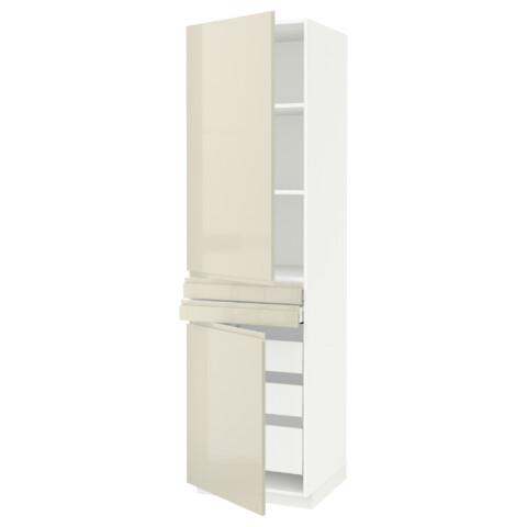 Высокий шкаф + полки, 5 ящиков, 2 дверцы, 2 фронтальных МЕТОД / МАКСИМЕРА белый артикуль № 892.389.37 в наличии. Онлайн каталог IKEA Минск. Недорогая доставка и монтаж.