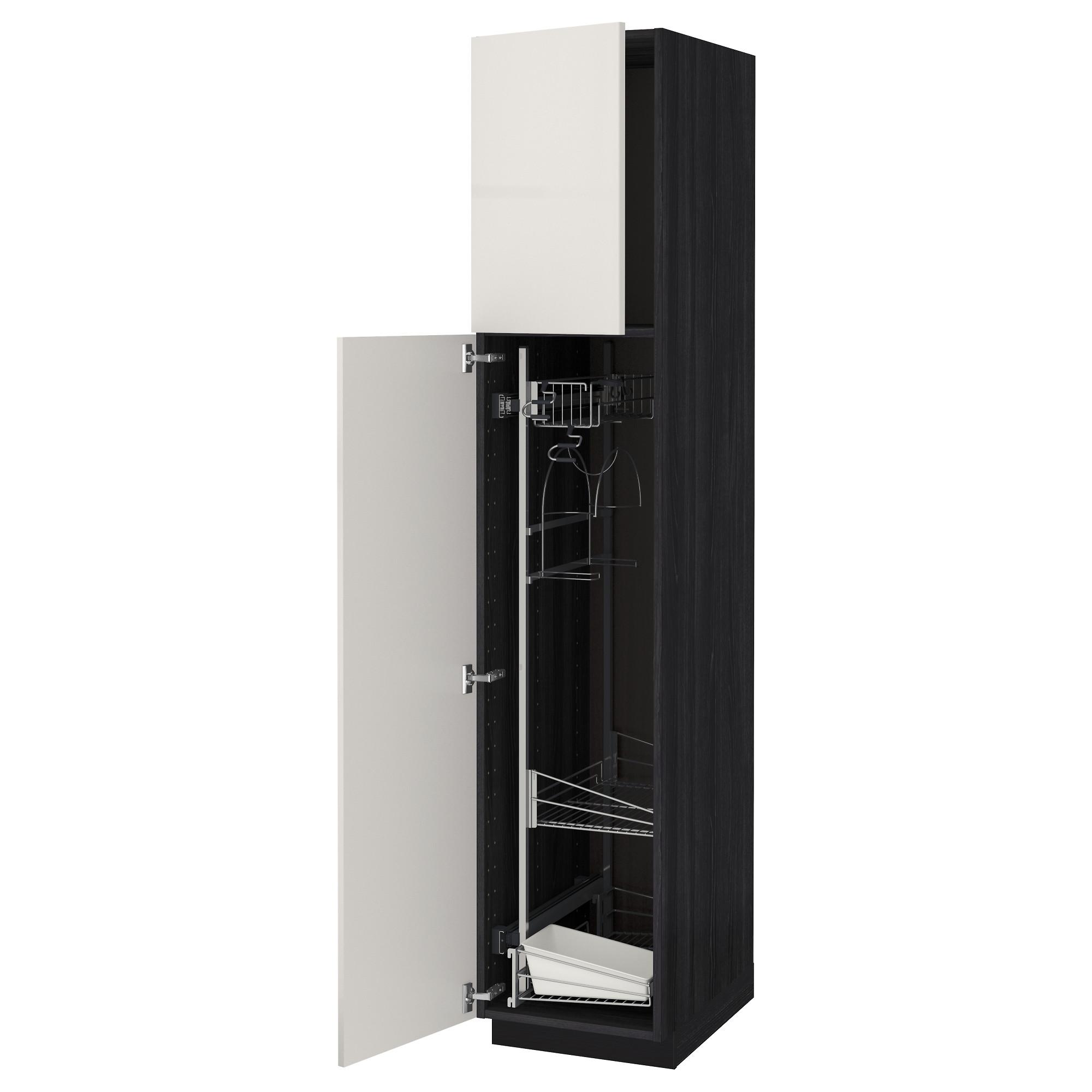 Высокий шкаф с отделением для аксессуаров, для уборки МЕТОД черный артикуль № 392.329.14 в наличии. Online сайт IKEA РБ. Быстрая доставка и соборка.