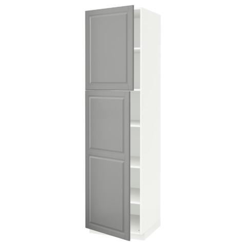 Высокий шкаф с полками, 2 дверцы МЕТОД серый артикуль № 692.268.84 в наличии. Online сайт IKEA Республика Беларусь. Недорогая доставка и монтаж.