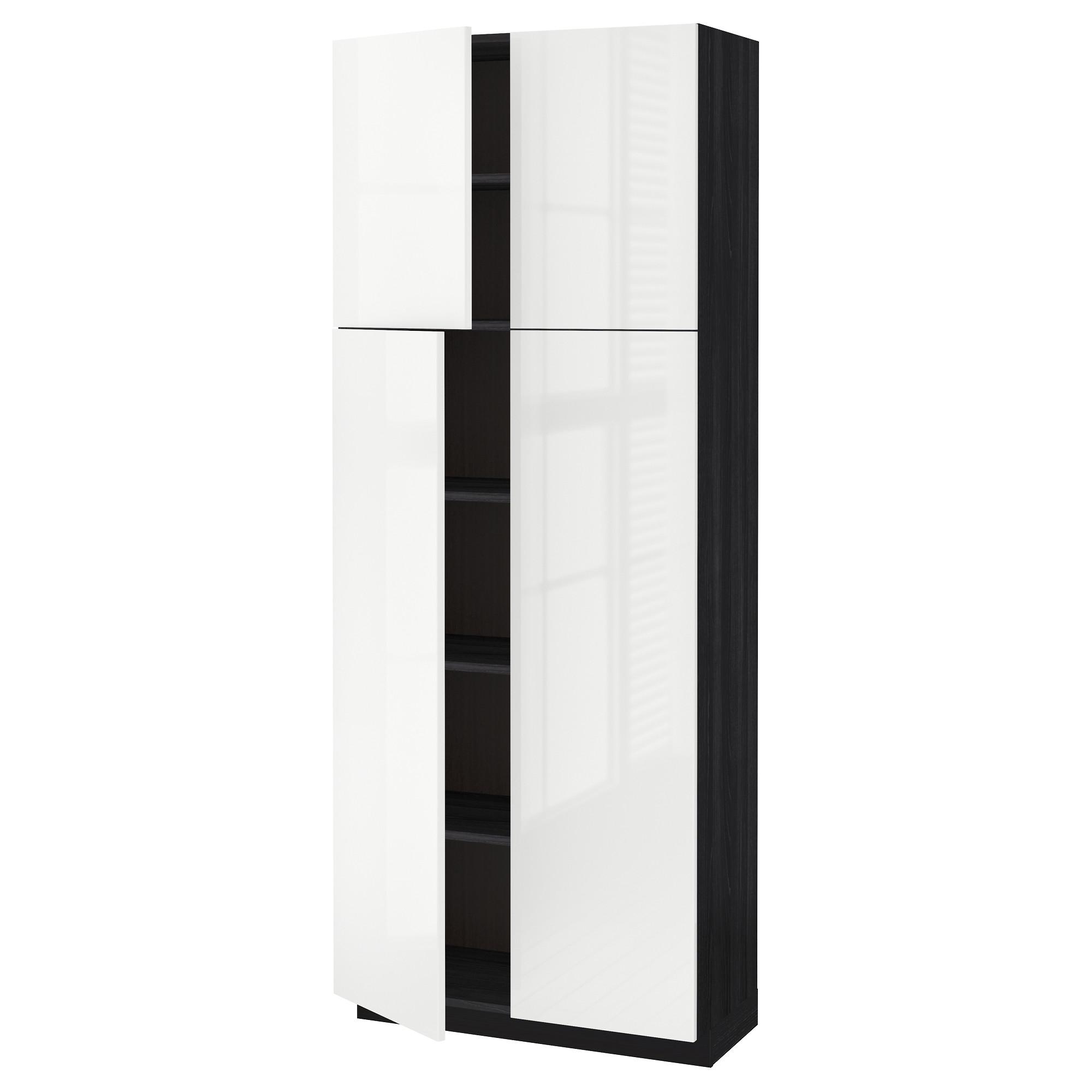 Высокий шкаф с полками, 4 дверцы МЕТОД черный артикуль № 392.329.09 в наличии. Онлайн каталог IKEA Беларусь. Недорогая доставка и монтаж.