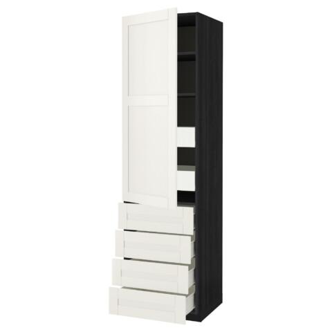 Высокий шкаф с полками/6 ящик, дверцами, 4 фронтальные панели МЕТОД / ФОРВАРА черный артикуль № 592.657.72 в наличии. Online сайт IKEA РБ. Недорогая доставка и установка.