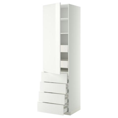 Высокий шкаф с полками/6 ящик, дверцами, 4 фронтальные панели МЕТОД / МАКСИМЕРА белый артикуль № 192.375.40 в наличии. Online сайт IKEA РБ. Быстрая доставка и монтаж.