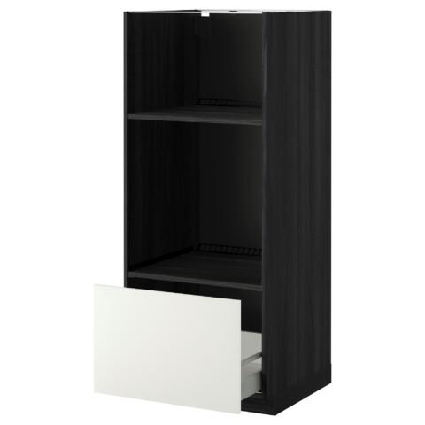 Высокий шкаф с ящиком для духовки/СВЧ МЕТОД / МАКСИМЕРА черный артикуль № 692.316.54 в наличии. Online сайт IKEA Минск. Быстрая доставка и установка.