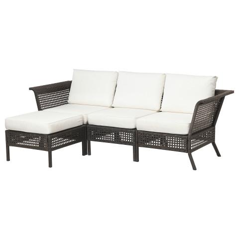 3-местный диван + табурет для ног, садовый КУНГСХОЛЬМЕН белый артикуль № 792.582.90 в наличии. Интернет каталог IKEA Минск. Быстрая доставка и монтаж.