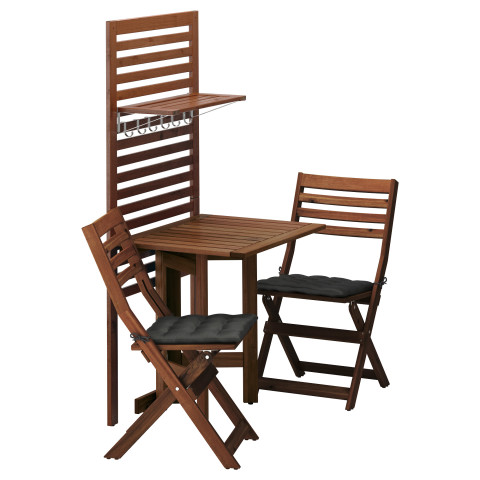 Панель, стол, 2 стула ЭПЛАРО черный артикуль № 892.288.77 в наличии. Онлайн магазин ИКЕА Минск. Быстрая доставка и монтаж.