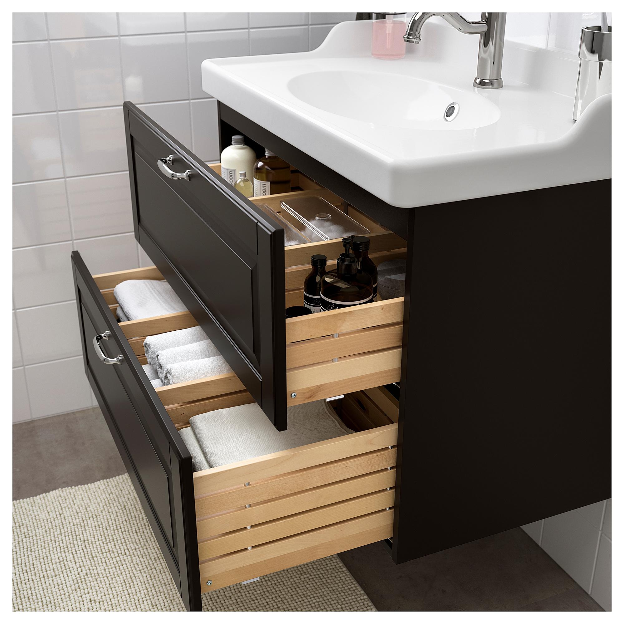 Шкаф для раковины с 2 ящиками ГОДМОРГОН / РЭТТВИКЕН темно-серый артикуль № 392.469.68 в наличии. Онлайн сайт IKEA Минск. Быстрая доставка и установка.