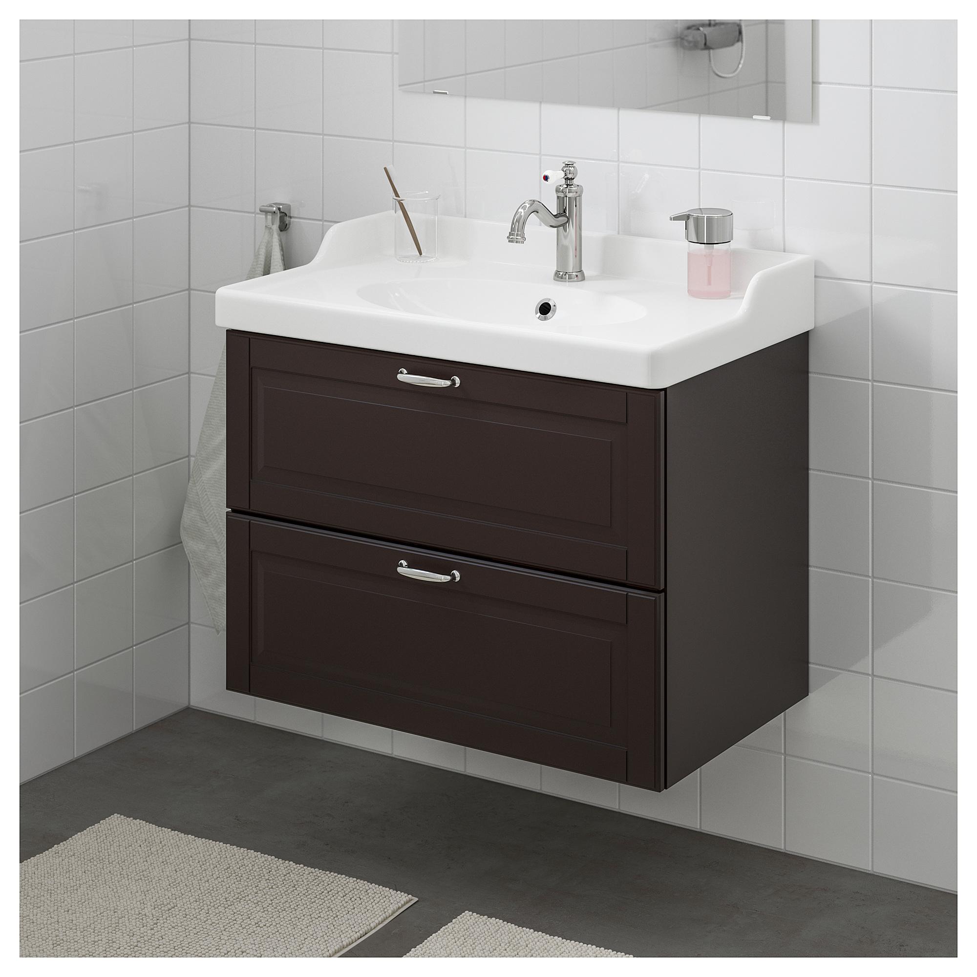 Шкаф для раковины с 2 ящиками ГОДМОРГОН / РЭТТВИКЕН темно-серый артикуль № 392.469.68 в наличии. Онлайн магазин IKEA РБ. Быстрая доставка и соборка.