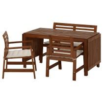 Стол + 2 кресла + скамья, для сада ЭПЛАРО бежевый артикуль № 092.289.23 в наличии. Онлайн каталог IKEA Минск. Недорогая доставка и установка.