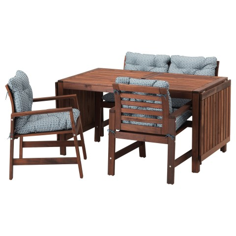 Стол + 2 кресла + скамья, для сада ЭПЛАРО синий артикуль № 792.289.34 в наличии. Онлайн магазин IKEA Беларусь. Недорогая доставка и соборка.