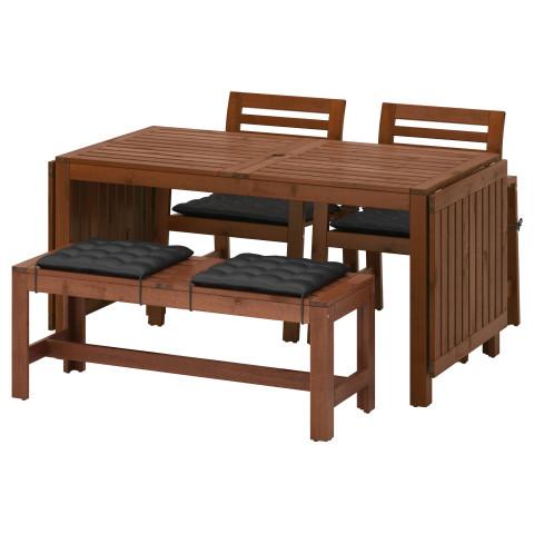 Стол + 2 кресла + скамья ЭПЛАРО черный артикуль № 192.289.32 в наличии. Онлайн магазин IKEA Беларусь. Быстрая доставка и установка.