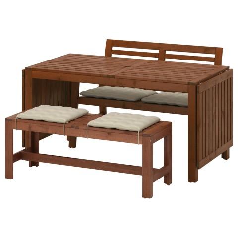 Стол+2 скамьи, для сада ЭПЛАРО бежевый артикуль № 892.289.19 в наличии. Online магазин IKEA РБ. Недорогая доставка и соборка.