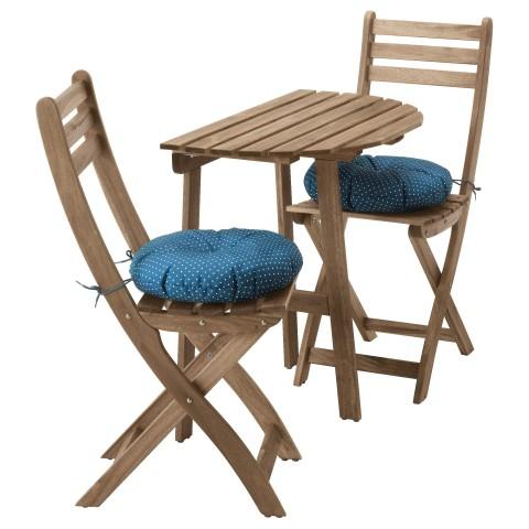 Стол + 2 складных стула, для сада АСКХОЛЬМЕН синий артикуль № 692.288.83 в наличии. Интернет магазин ИКЕА Беларусь. Быстрая доставка и соборка.