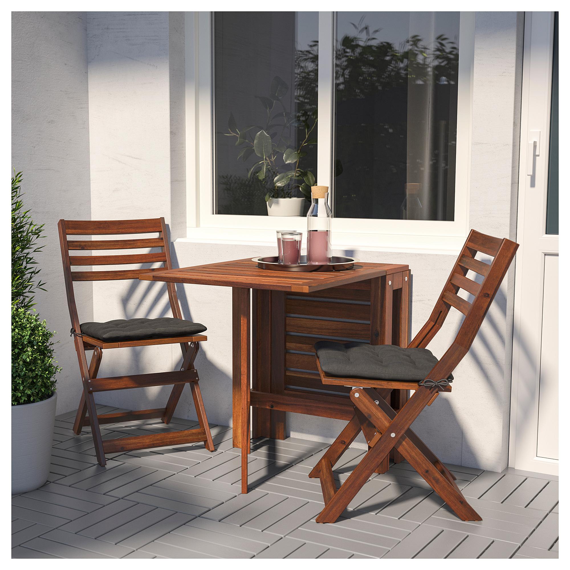Стол + 2 складных стула для сада ЭПЛАРО черный артикуль № 892.289.24 в наличии. Интернет магазин IKEA Республика Беларусь. Недорогая доставка и установка.