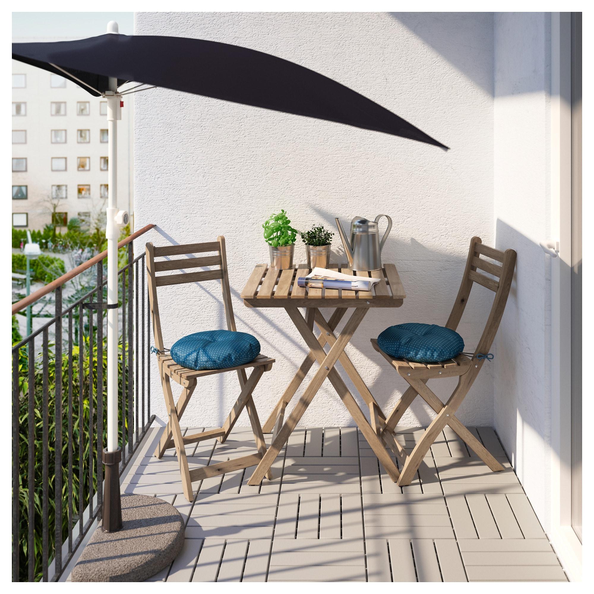 Стол + 2 стула, для сада АСКХОЛЬМЕН синий артикуль № 992.288.86 в наличии. Интернет каталог ИКЕА Минск. Быстрая доставка и монтаж.
