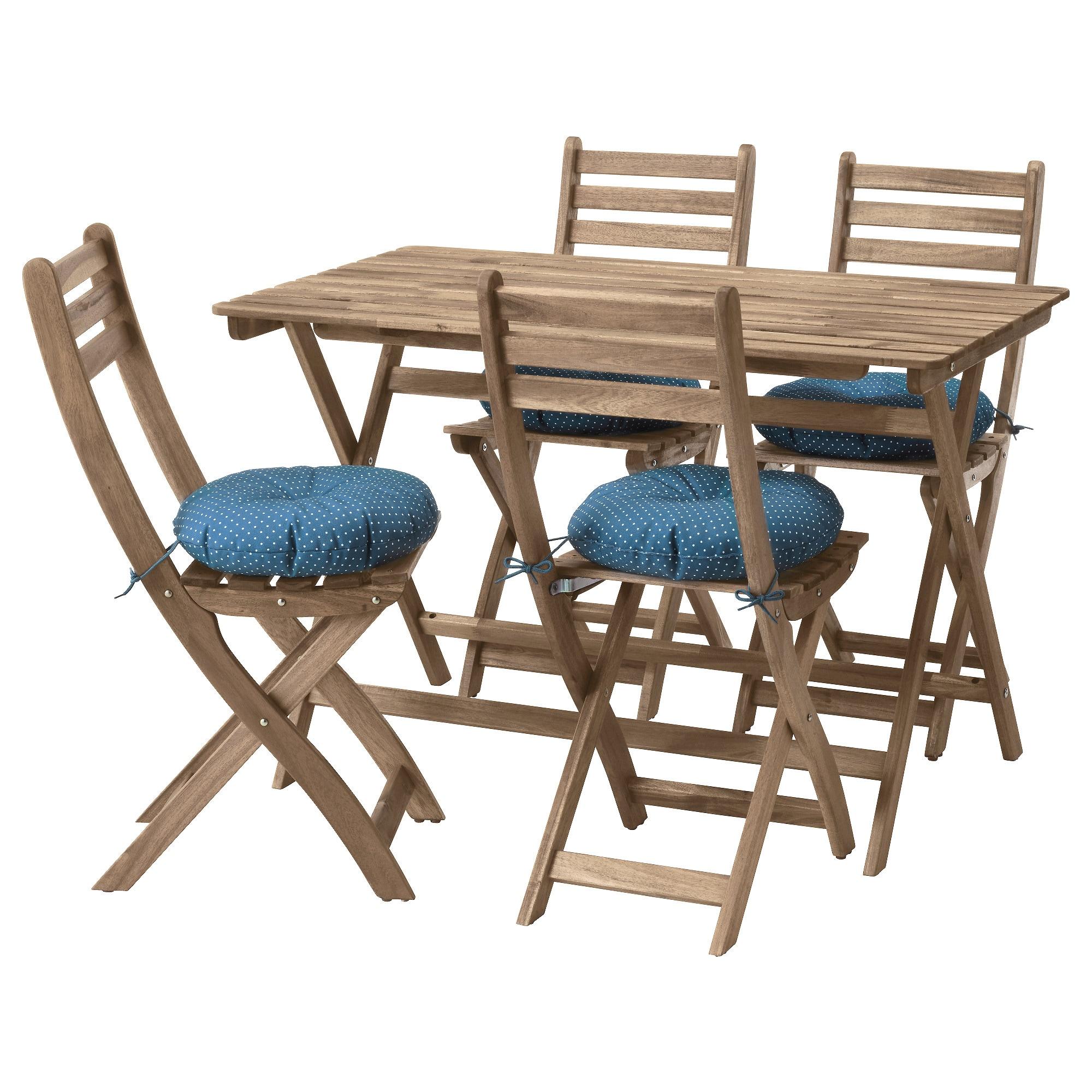 Стол + 4 стула, для сада АСКХОЛЬМЕН синий артикуль № 792.288.87 в наличии. Online каталог IKEA Республика Беларусь. Быстрая доставка и соборка.