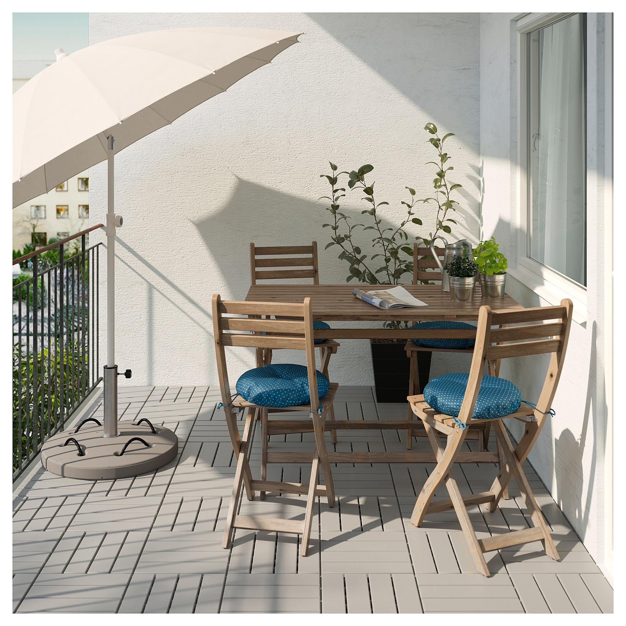 Стол + 4 стула, для сада АСКХОЛЬМЕН синий артикуль № 792.288.87 в наличии. Online каталог IKEA РБ. Быстрая доставка и соборка.