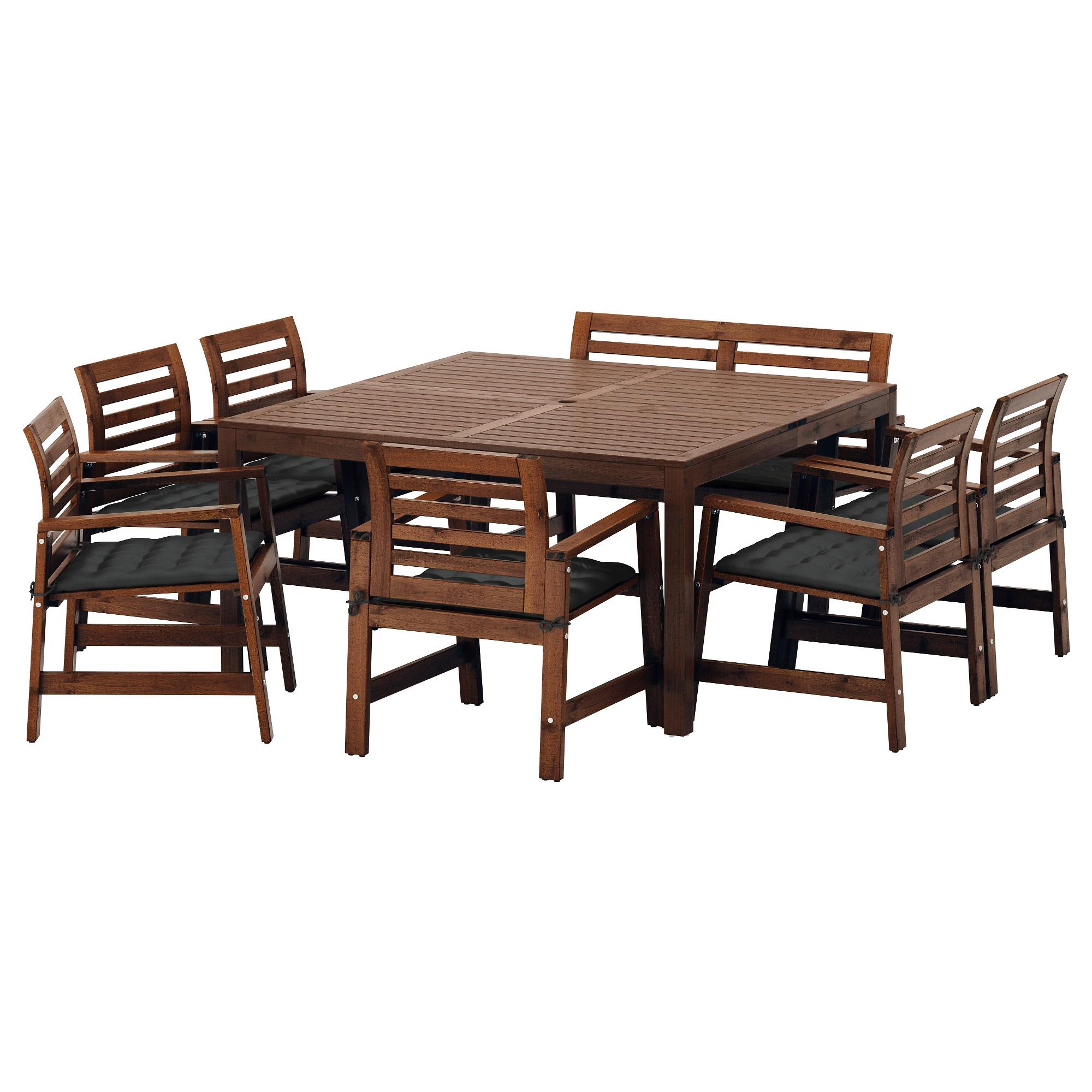 Стол + 6 кресел + скамья для сада ЭПЛАРО черный артикуль № 592.289.49 в наличии. Онлайн сайт IKEA Беларусь. Быстрая доставка и установка.