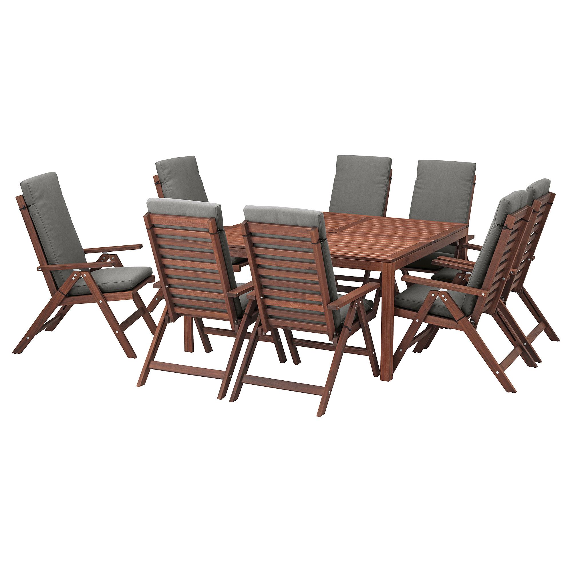 Стол + 8 кресел ЭПЛАРО темно-серый артикуль № 292.688.14 в наличии. Интернет сайт IKEA Республика Беларусь. Быстрая доставка и монтаж.