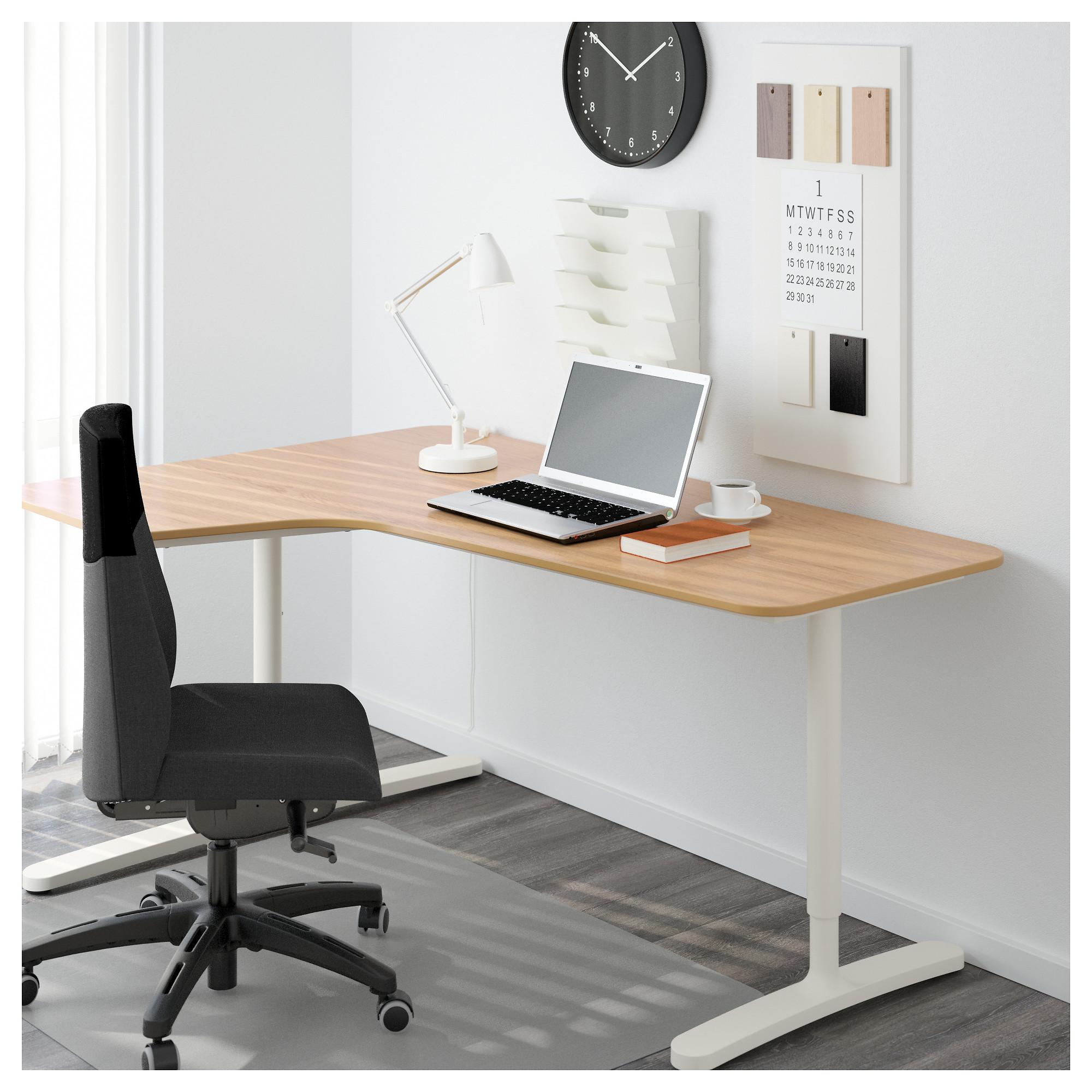 Угловой письменный стол левосторонний БЕКАНТ белый артикуль № 592.784.54 в наличии. Онлайн магазин ИКЕА РБ. Недорогая доставка и установка.