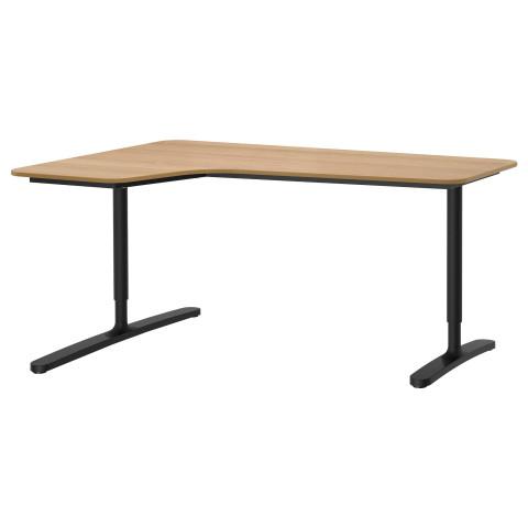 Угловой письменный стол левосторонний БЕКАНТ черный артикуль № 892.784.43 в наличии. Online магазин IKEA РБ. Быстрая доставка и монтаж.