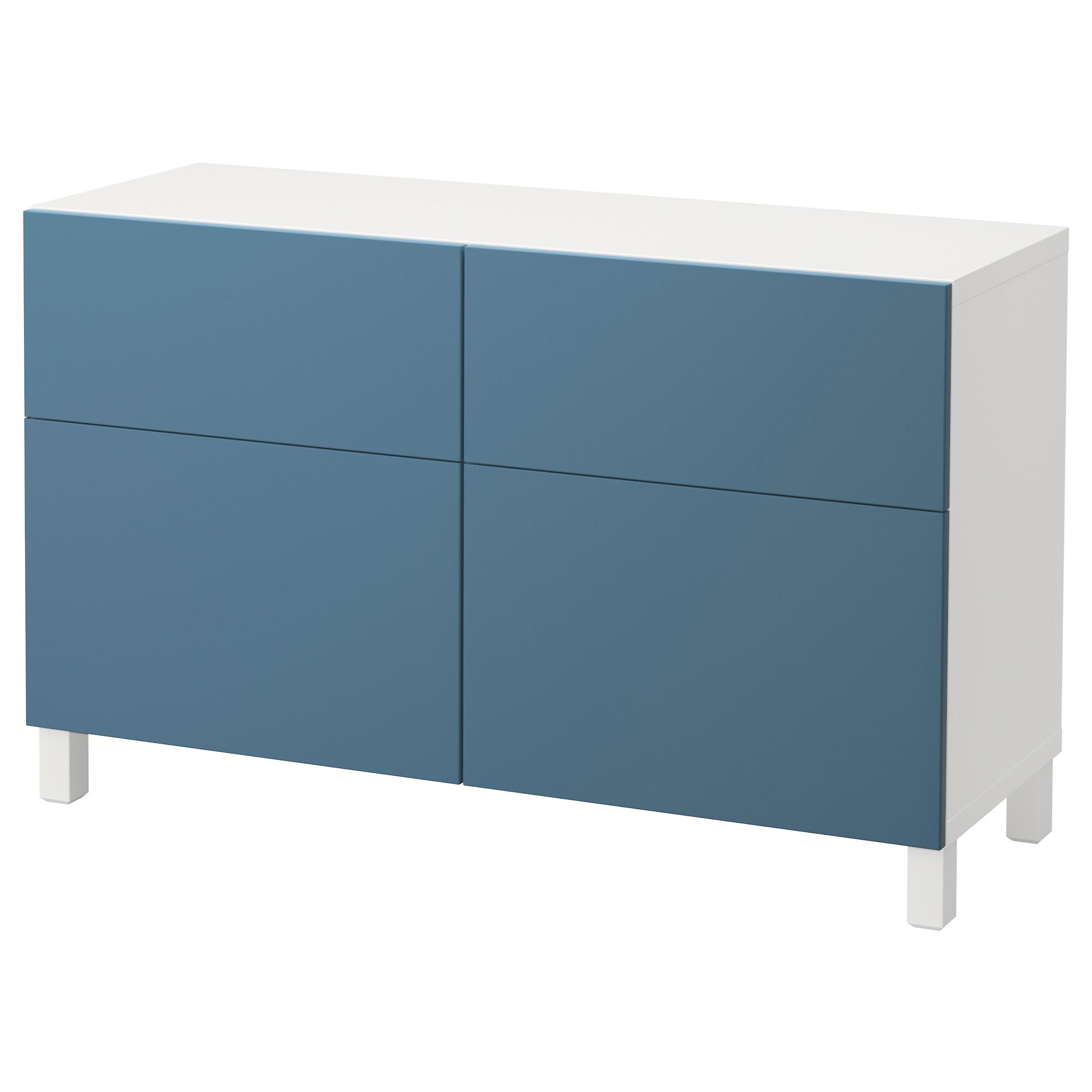 Комбинация для хранения с дверцами, ящиками БЕСТО, белый, Вальвикен темно-синий (120x40x74 см)