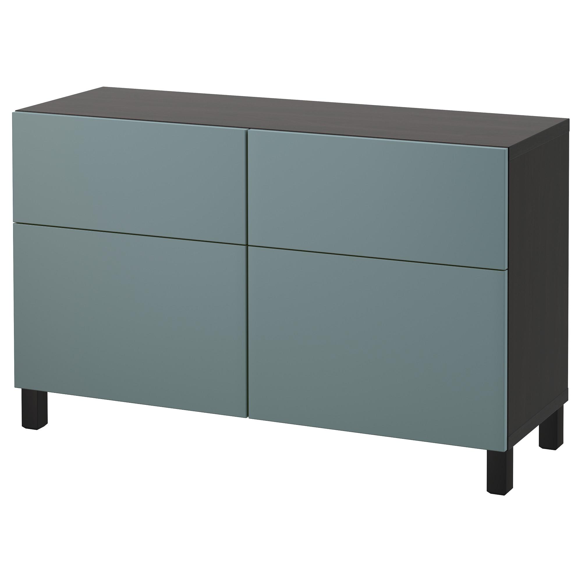 Комбинация для хранения с дверцами, ящиками БЕСТО, черно-коричневый, Вальвикен серо-бирюзовый (120x40x74 см)