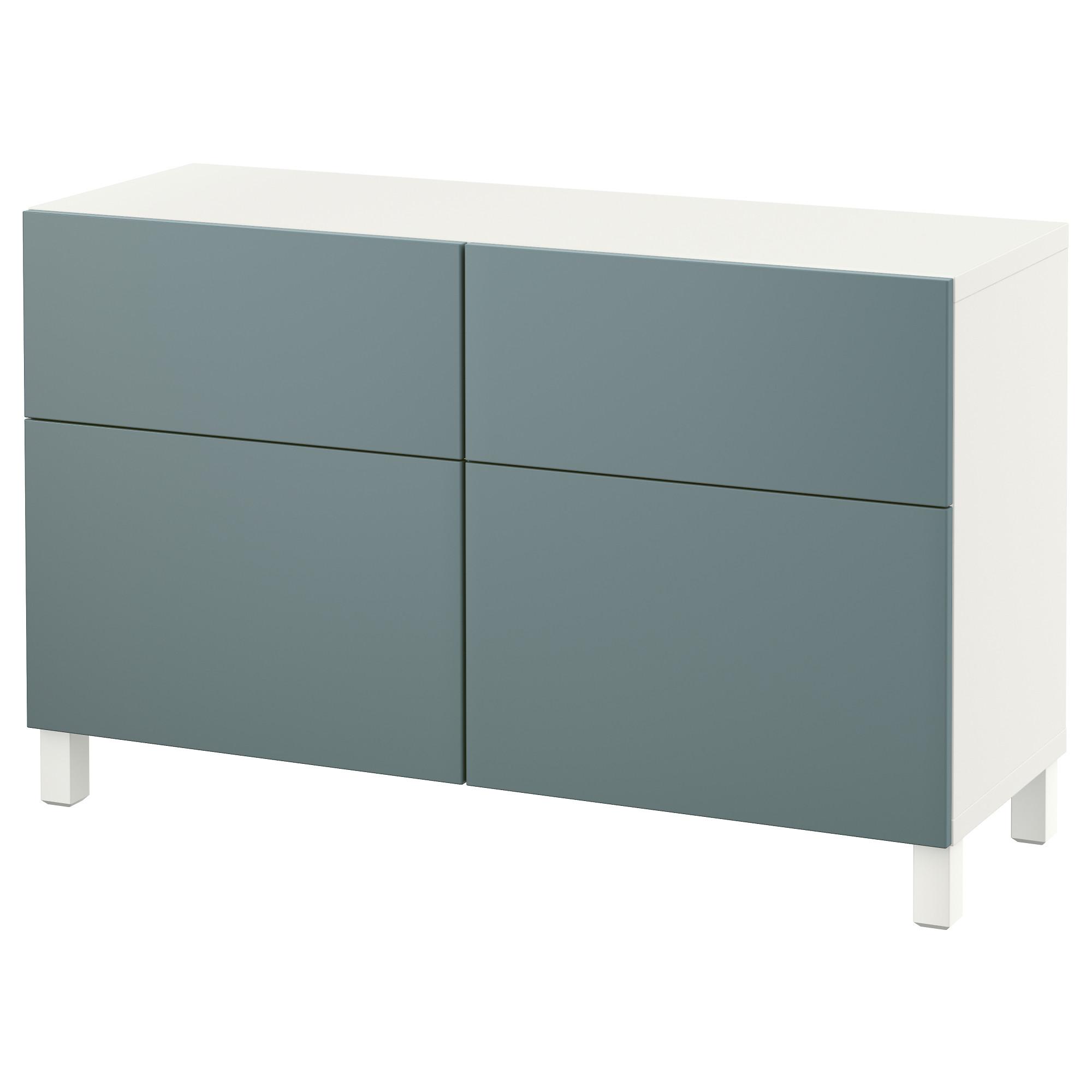 Комбинация для хранения с дверцами, ящиками БЕСТО, белый, Вальвикен серо-бирюзовый (120x40x74 см)
