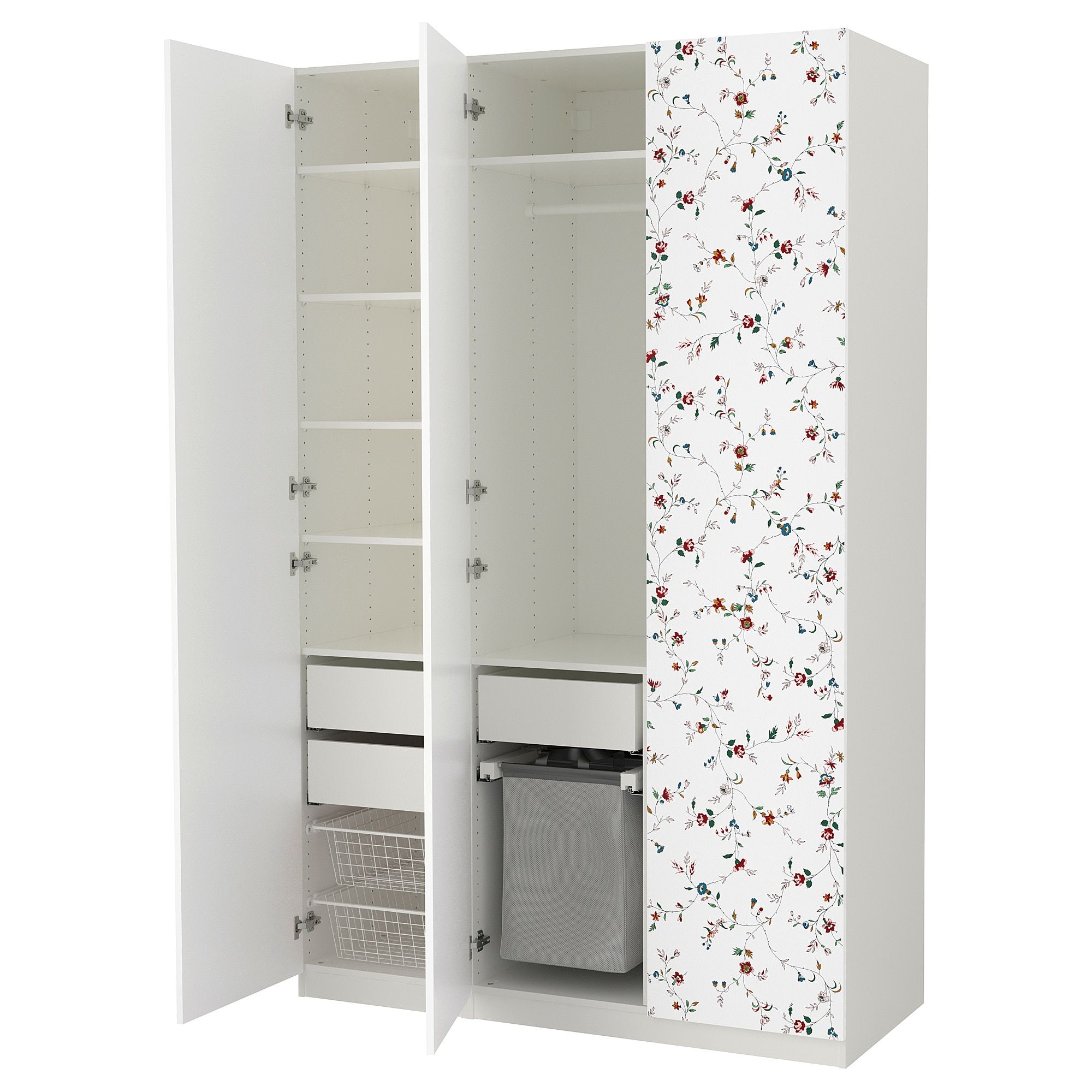 Гардероб ПАКС, белый, Марнардаль с цветочным орнаментом (150x60x236 см)