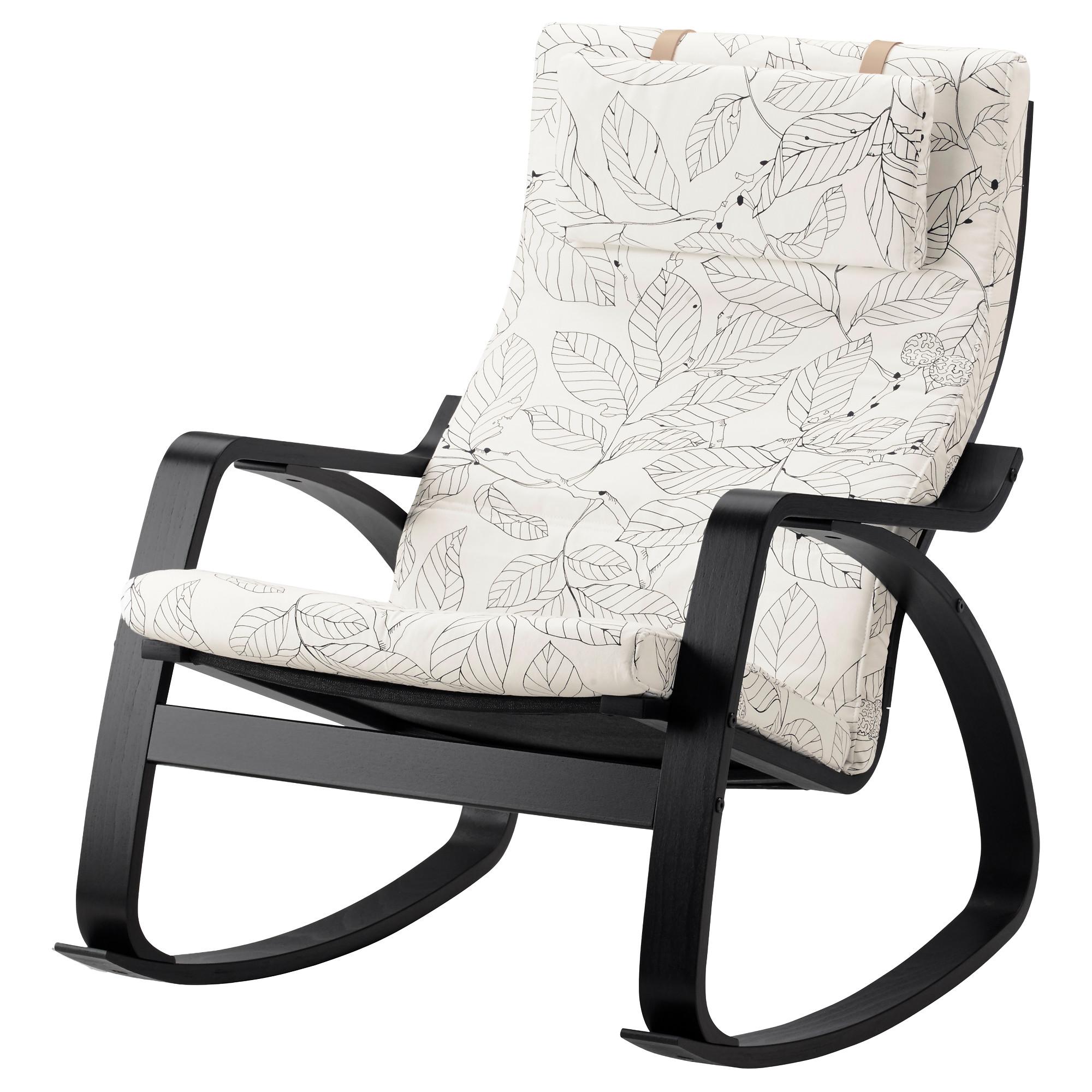 Кресло-качалка ПОЭНГ, черно-коричневый, Висланда черный/белый