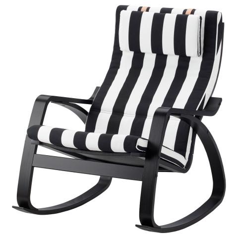 Кресло-качалка ПОЭНГ черный/белый артикуль № 292.515.64 в наличии. Онлайн сайт ИКЕА Минск. Быстрая доставка и установка.