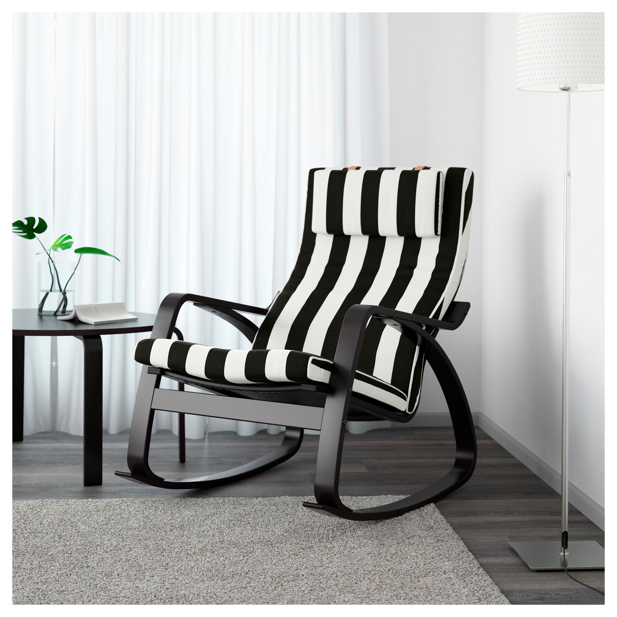 Кресло-качалка ПОЭНГ черный/белый артикуль № 292.515.64 в наличии. Online магазин IKEA Минск. Недорогая доставка и установка.