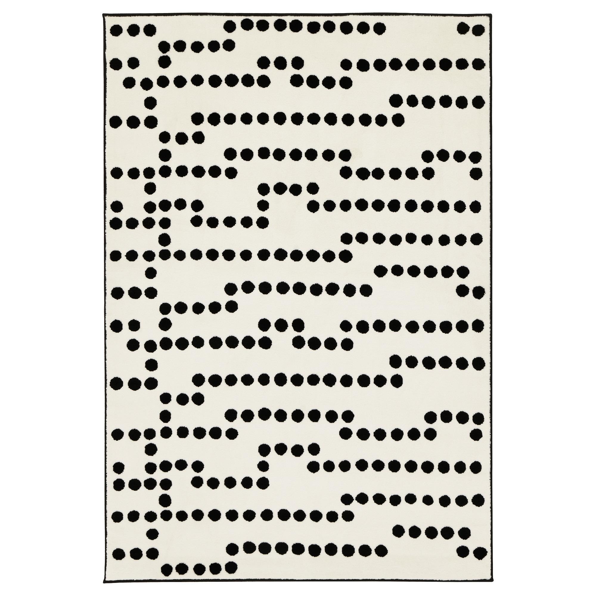Ковер, короткий ворс АВСИКТЛИГ, белый/черный (133×195 см)