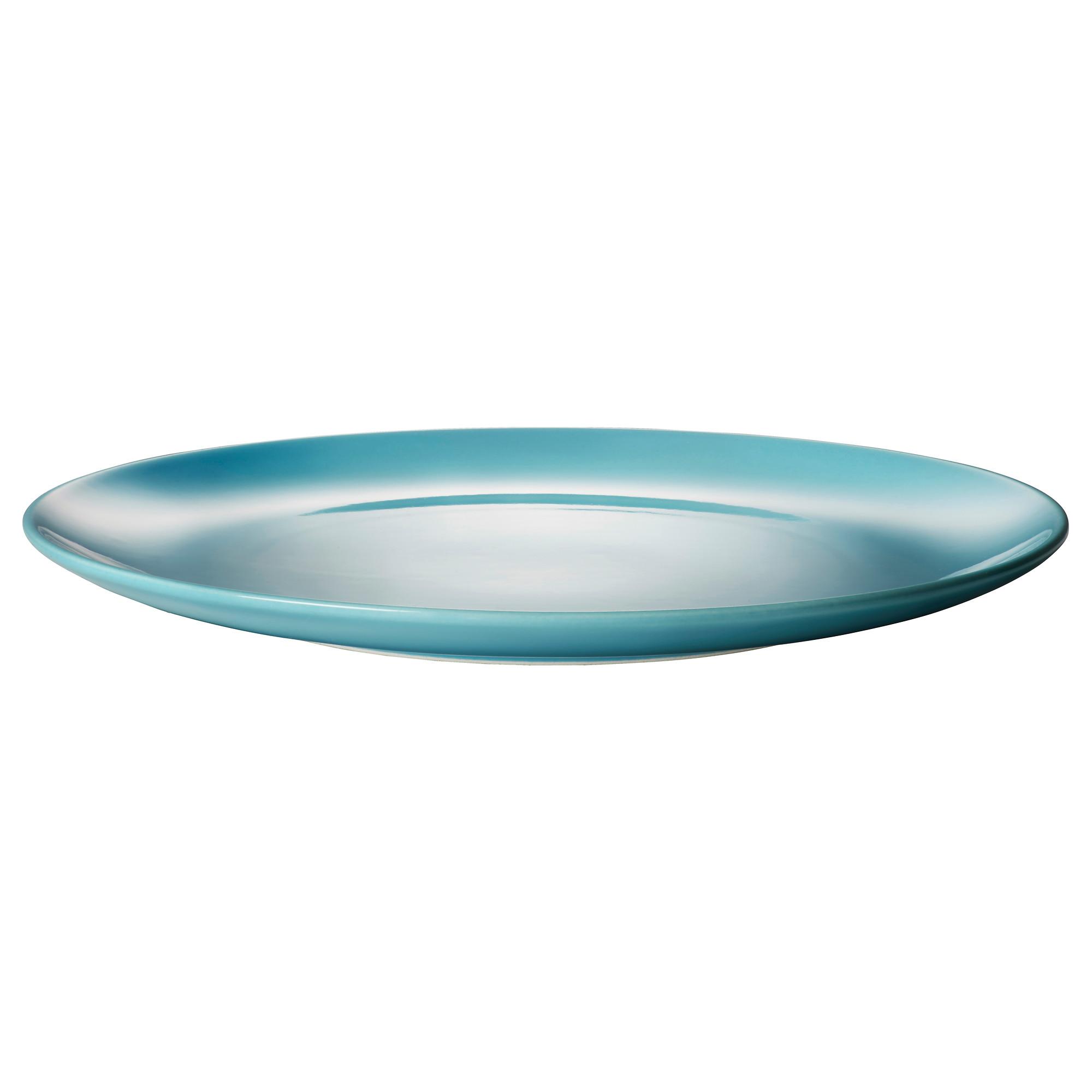 Тарелка ФЭРГРИК, фаянс, бирюзовый (27 см)