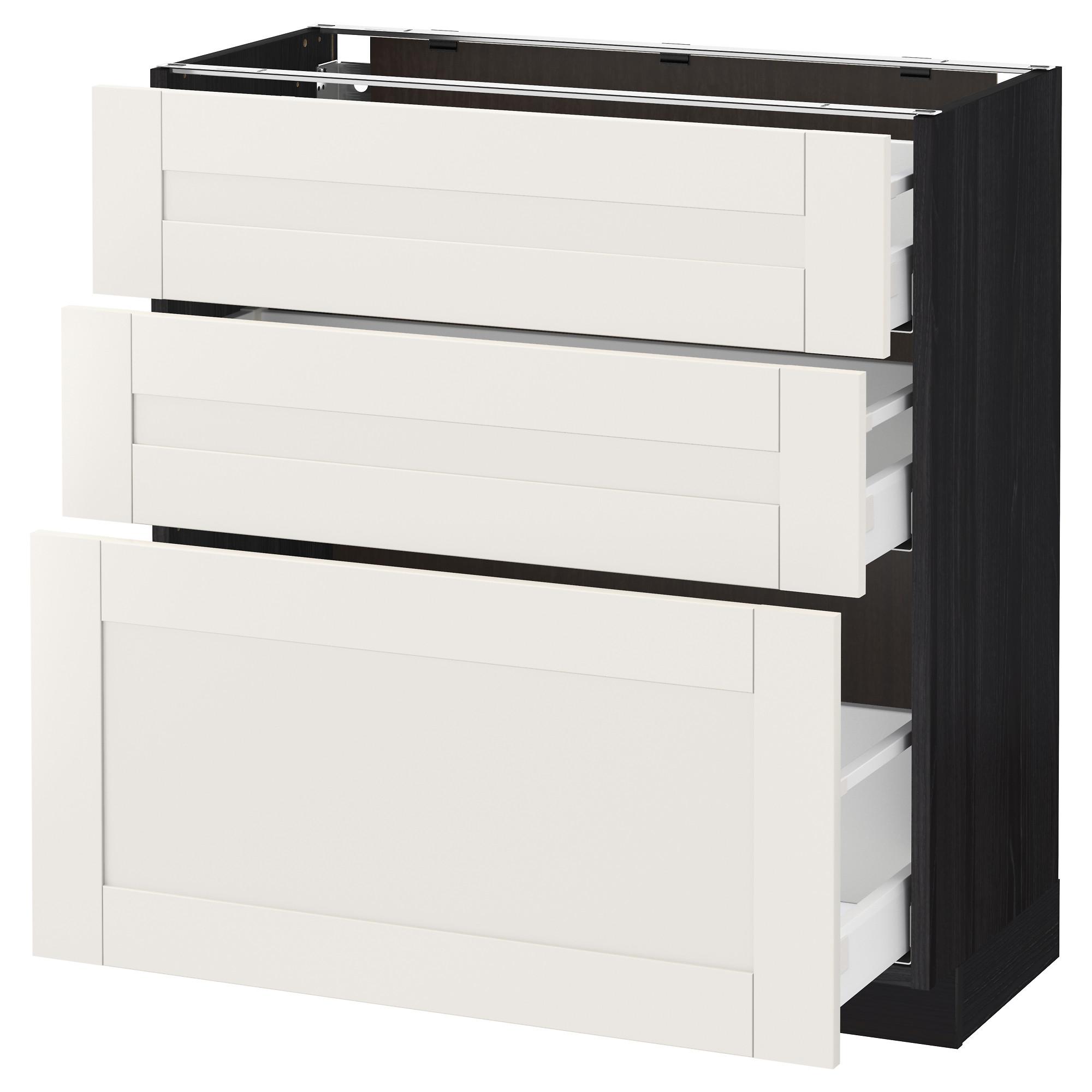 Напольный шкаф с 3 ящиками МЕТОД / МАКСИМЕРА, черный, Сэведаль белый