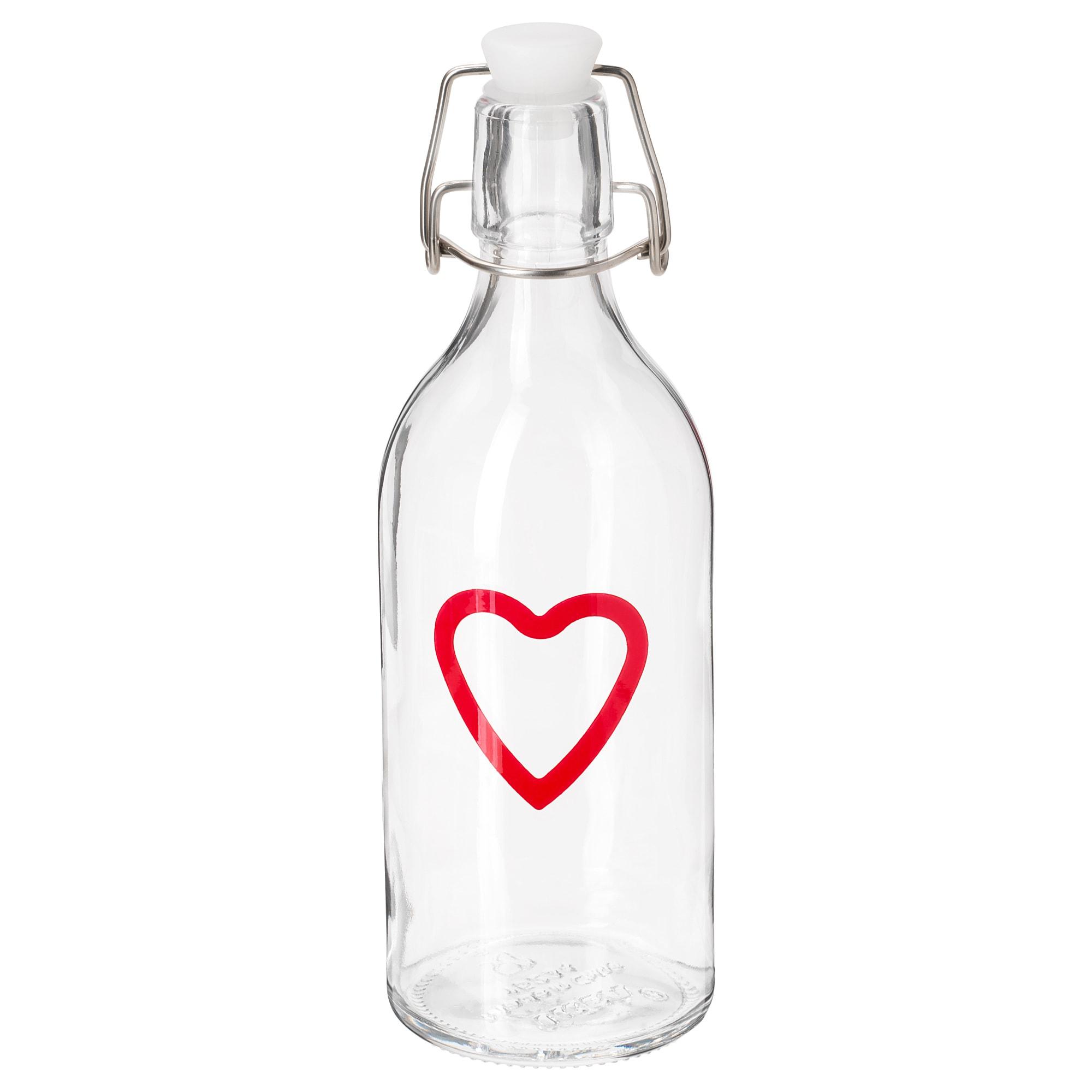 Бутылка с пробкой ВИНТЕР 2018, прозрачное стекло, с рисунком (0.5 л)